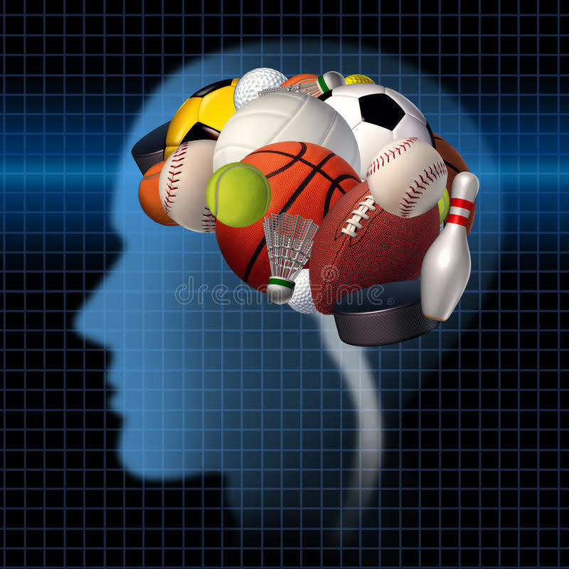 A brain made of different types of sports equipment