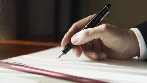 Hand writing in pen