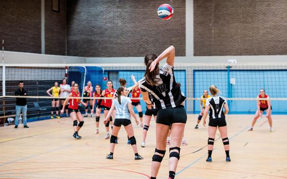 A picture of a volleyball game.