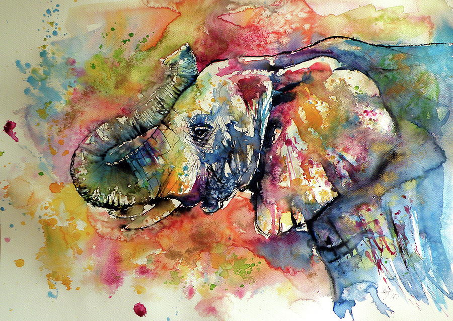 A painting of an elephant.