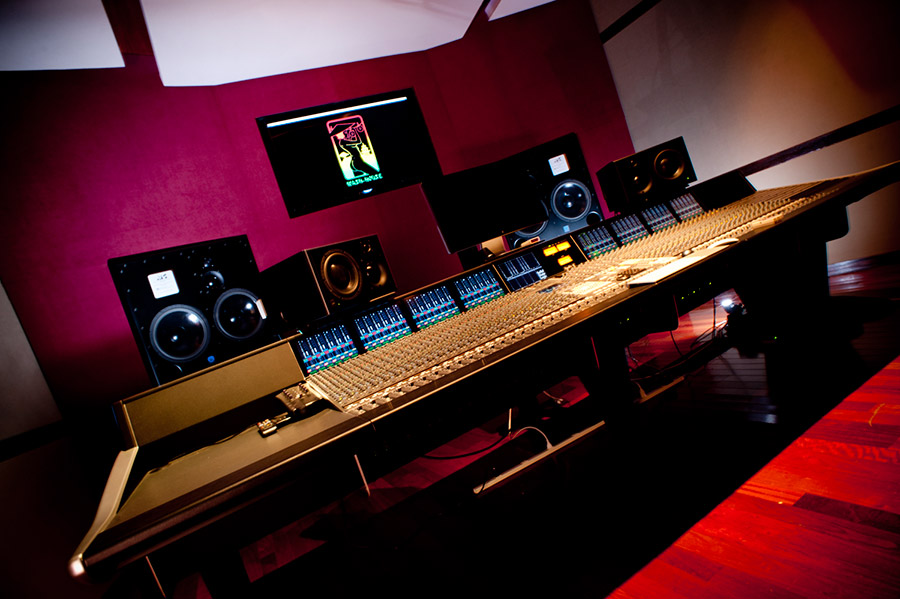 An inside look into a music studio.