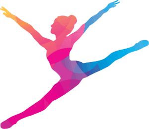 A colored silhouette of a dancer