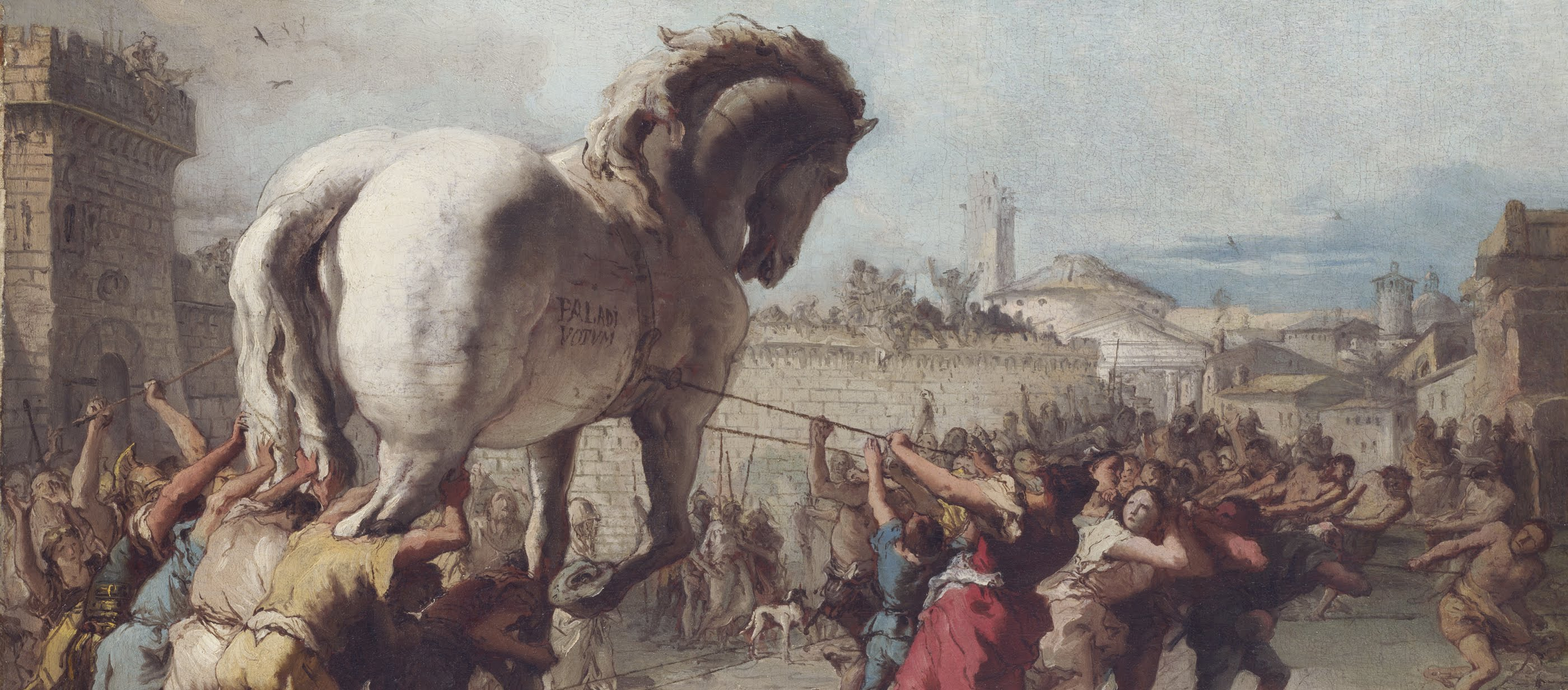 A painting of the Trojan horse created by the Greeks to take over the city of Troy.