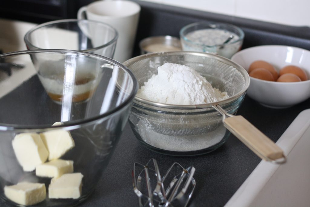 Basic ingredients to make a cake.