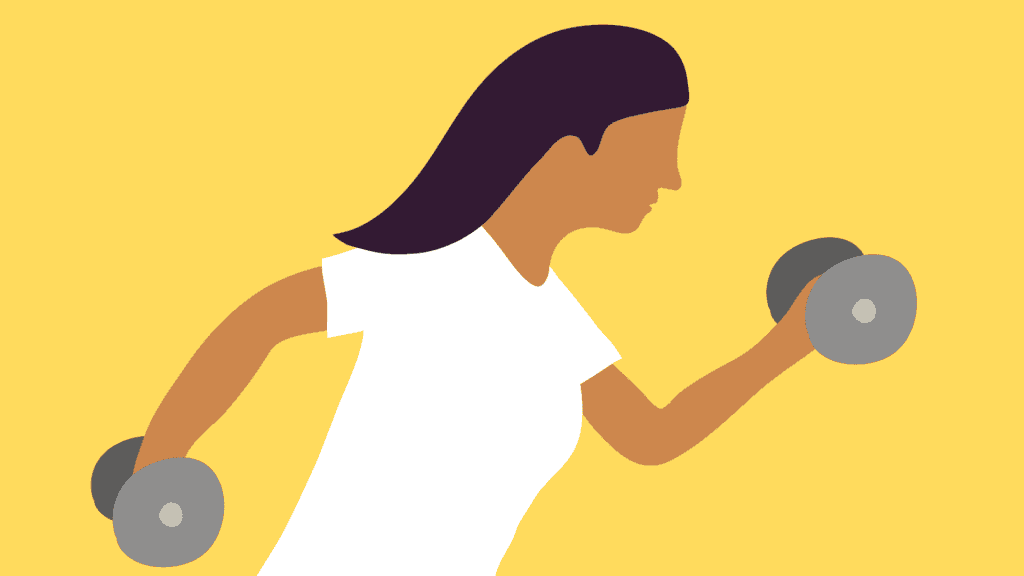 A graphic of a woman lifting weights.