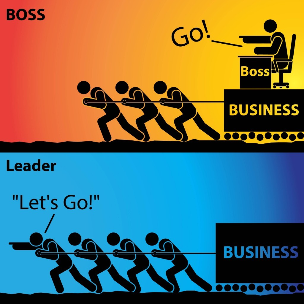 A representation of a boss versus a leader.