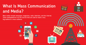 A infographic explaining mass media communication.