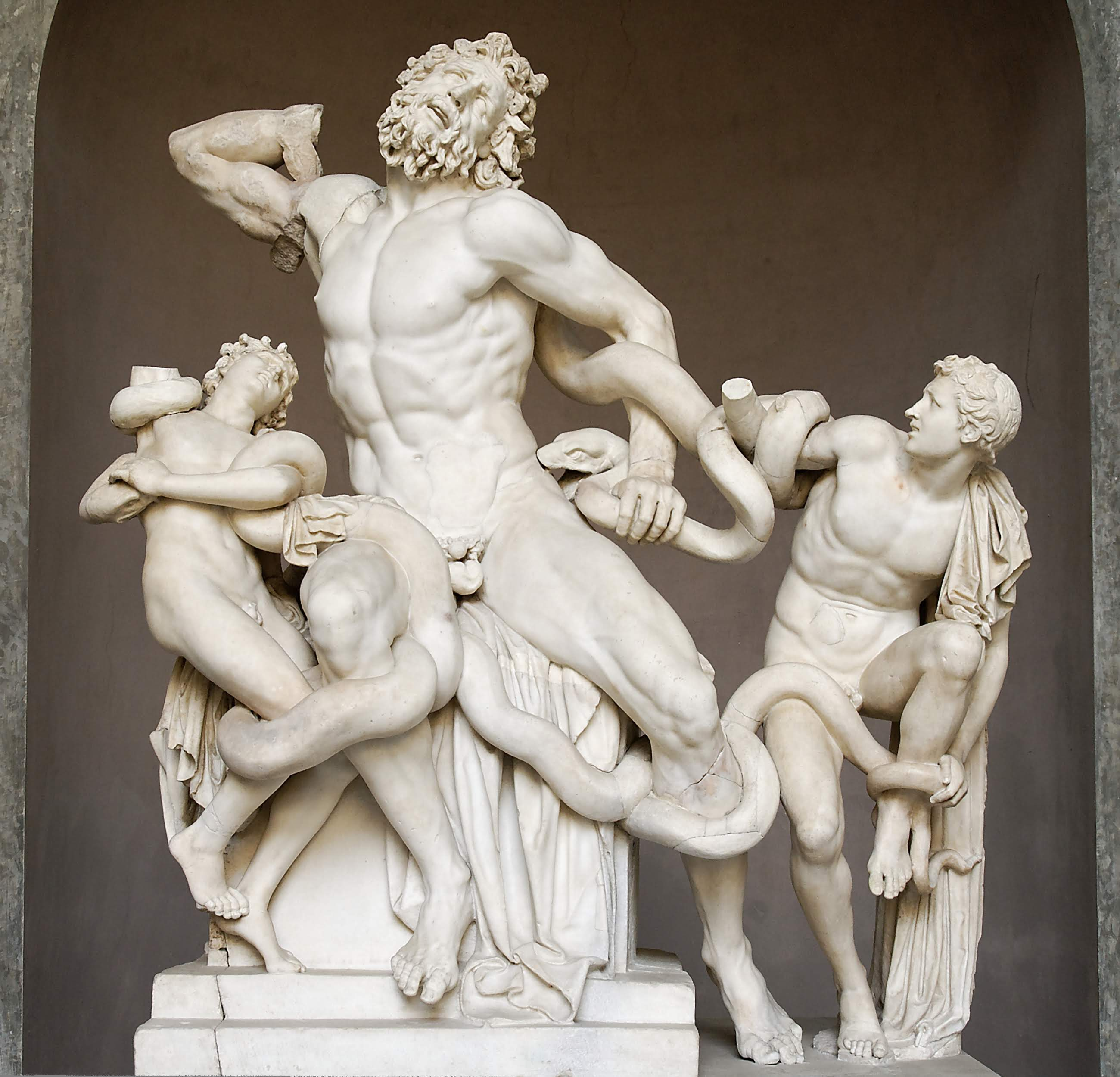 A Greek sculpture of Laocoon and His Sons at the Vatican Museum.