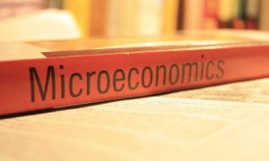 The word microeconomics on the spinal of a book.
