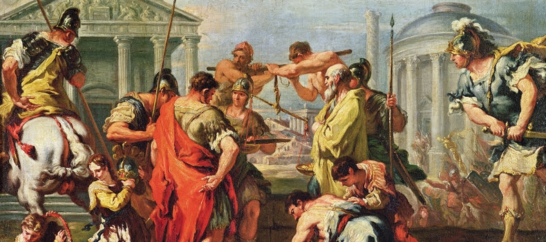 A painting representing the contextual civilians in the Roman Empire.
