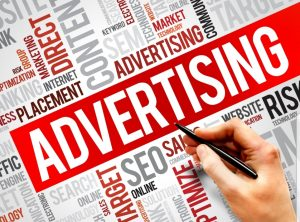 An image of the word advertising.