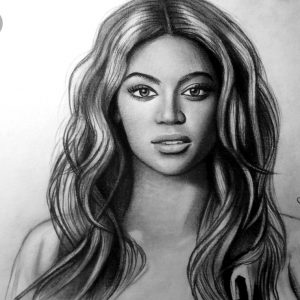 A drawing of Beyonce Knowles.