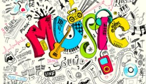 An illustration of the word music.
