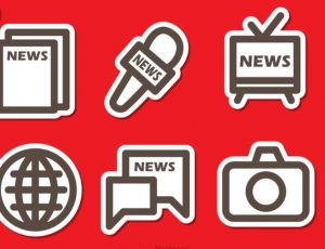 An illustration representing the various forms of mass media outlets.