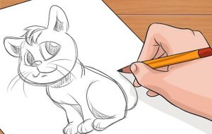 An illustration of a person drawing a cat.
