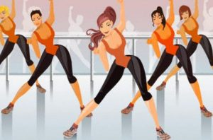 An illustration of a fitness class.