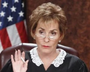 A scene from Judge Judy.