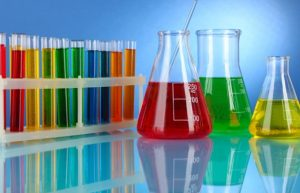 Chemicals used in a laboratory.