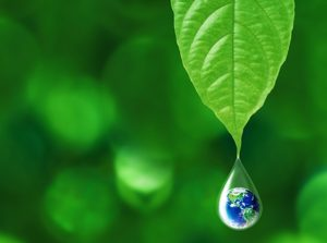 An image of a globe as a drop of water.
