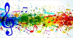 An image of colorful music notes.