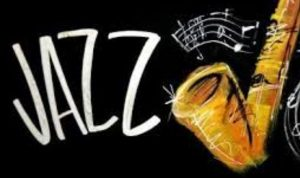An image of the word jazz and a trumpet.