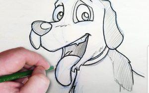 A drawing of a cartoon-like dog.
