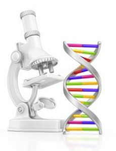 An image of DNA and a microscope.