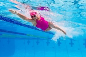 An image of a woman swimming.