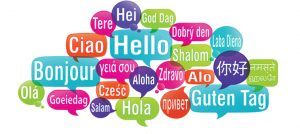 """Speech bubbles with """"hi"""" in different languages"""