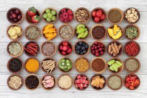 Healthy food in bowls