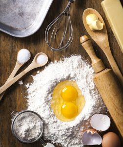 A picture of baking tools and baking ingredients.