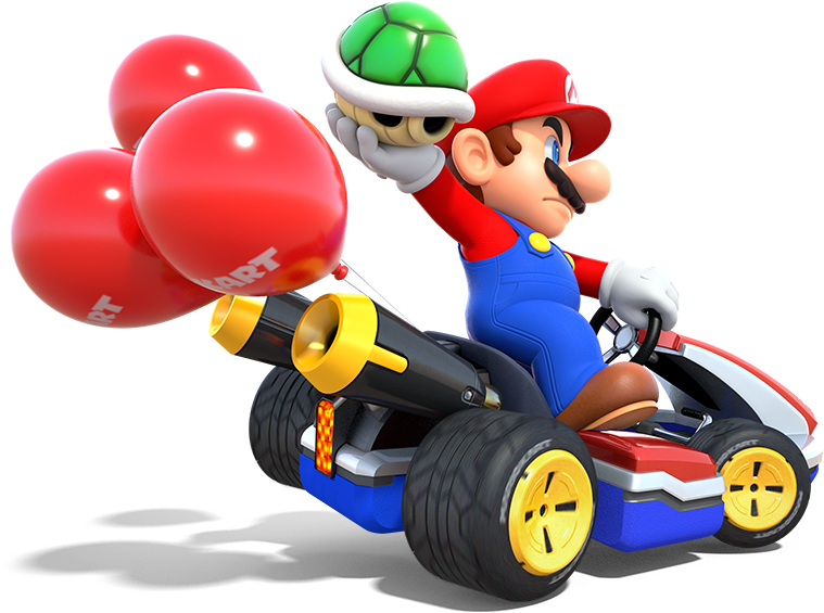 An image of Mario in the Mario Kart video game,.