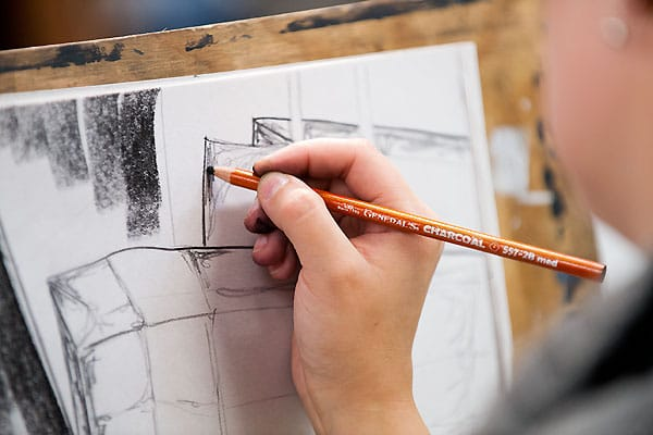 A student doing a sketch