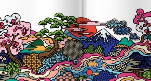Image of an artistic design of Japan