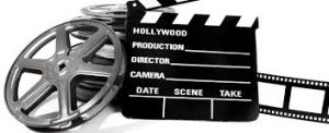 a movie director's placard and film