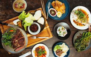 A table full of different kinds of food.