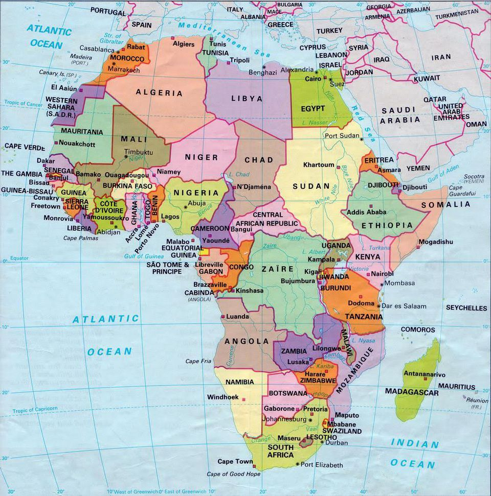 A map of countries in Africa.