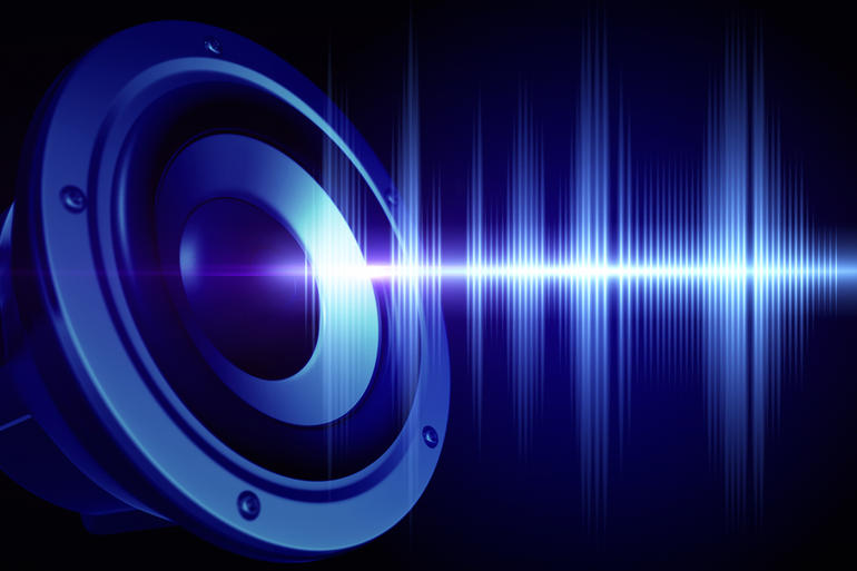 A loud-speaker and a sound wave.