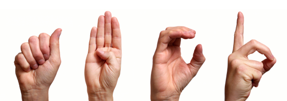 This image demonstrates some of the specific symbols used in fingerspelling.