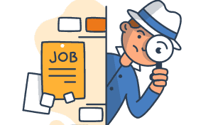A clip-art image of someone searching for a job.