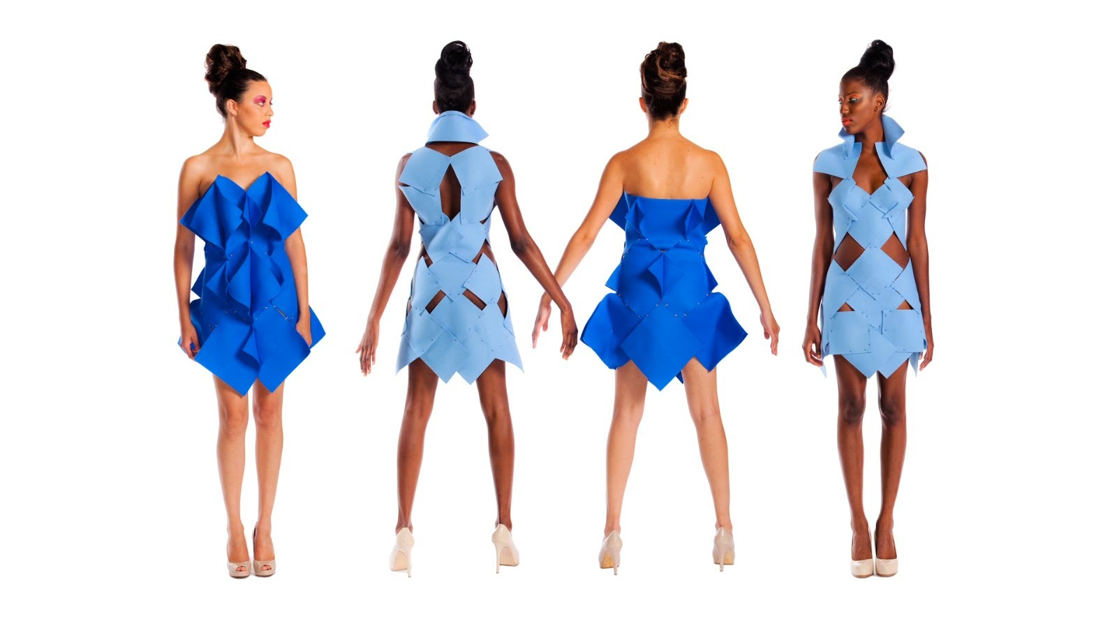 This image is of dresses designed by students who would have taken such a course.