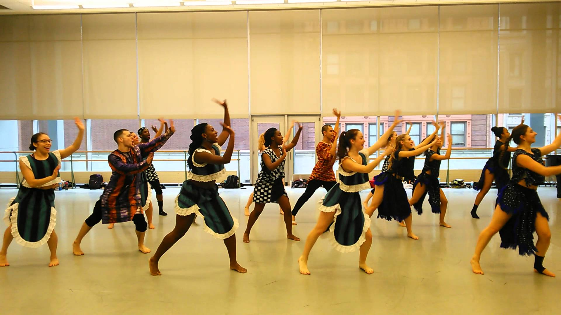This is a picture of traditional african dance in class.