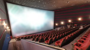 The inside of a movie theater.