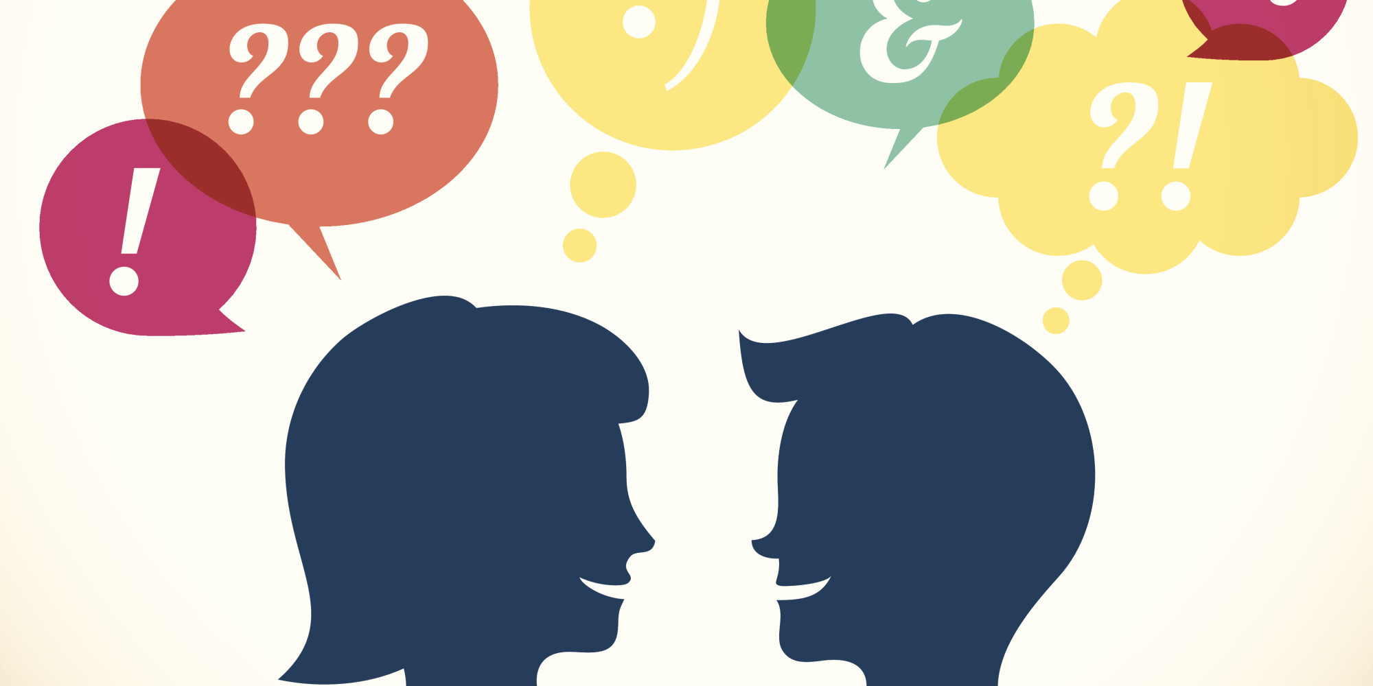 An illustration of two people talking.