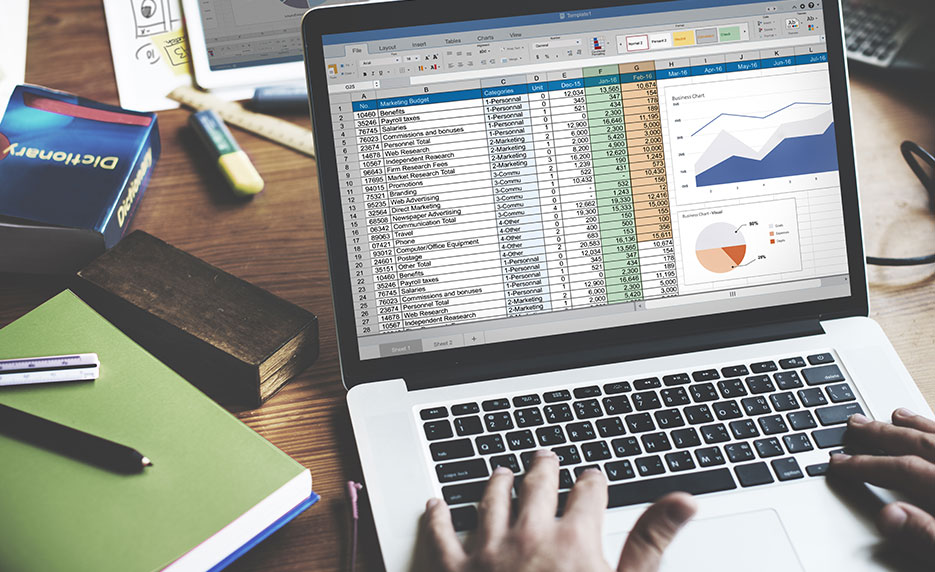spreadsheet and charts on laptop