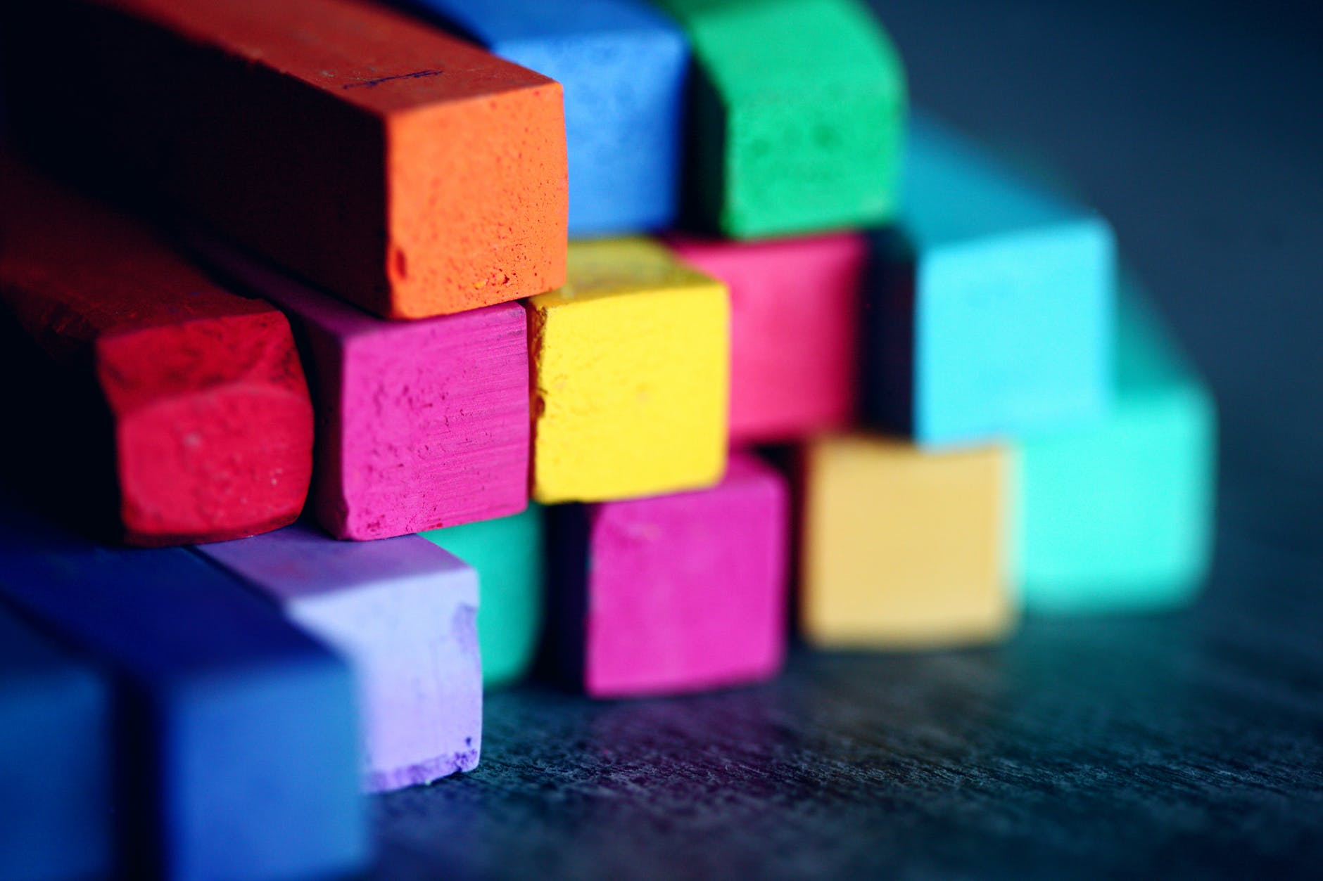 Colorful blocks stacked upon each other