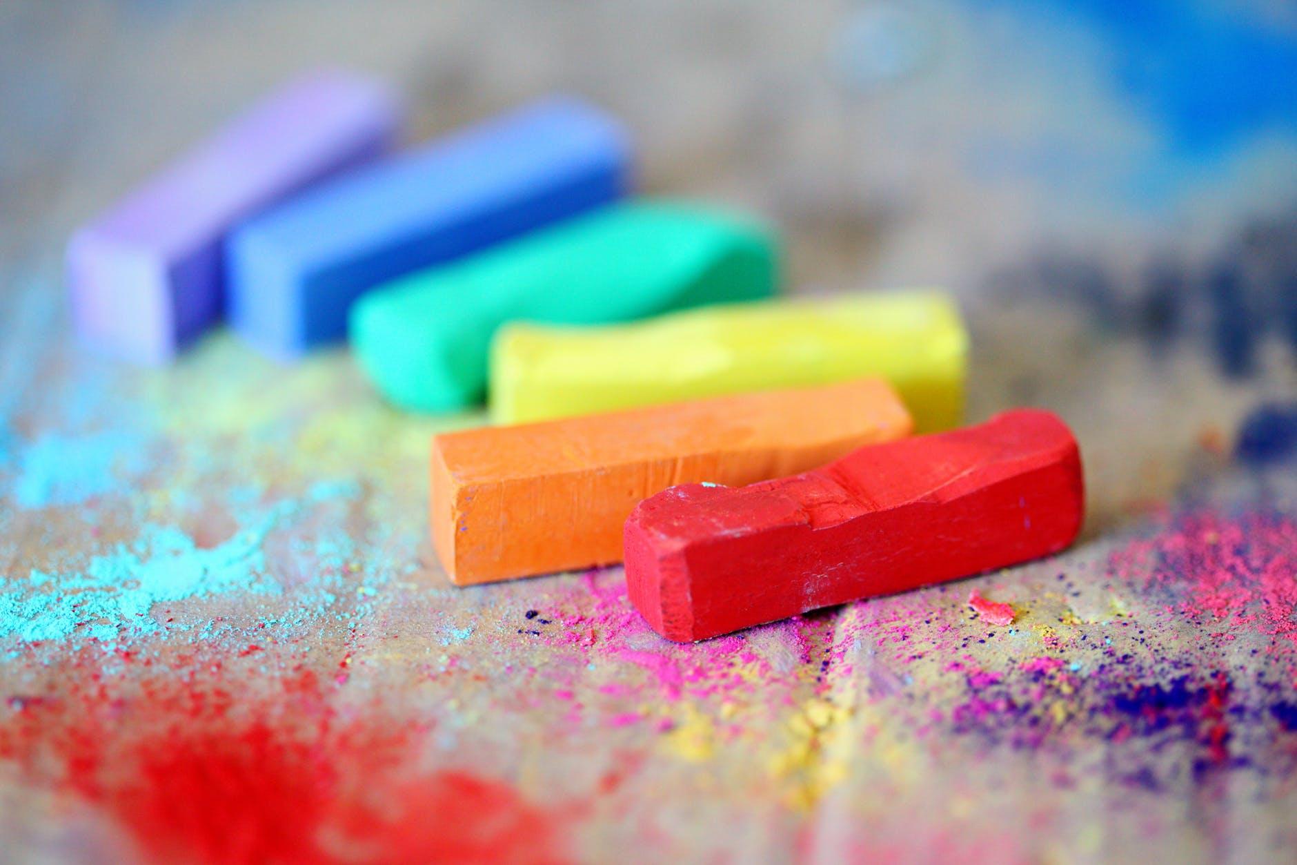 oil pastels in rainbow order