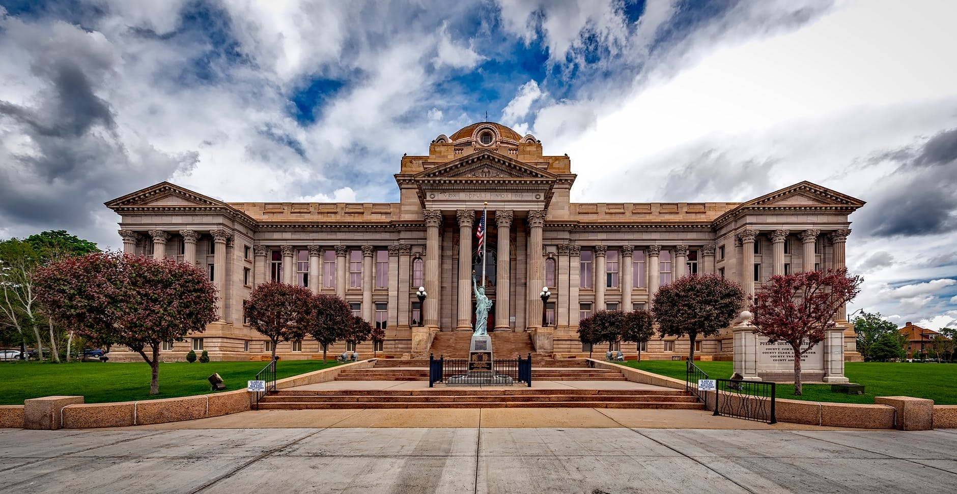 The outside of a historic courthouse.