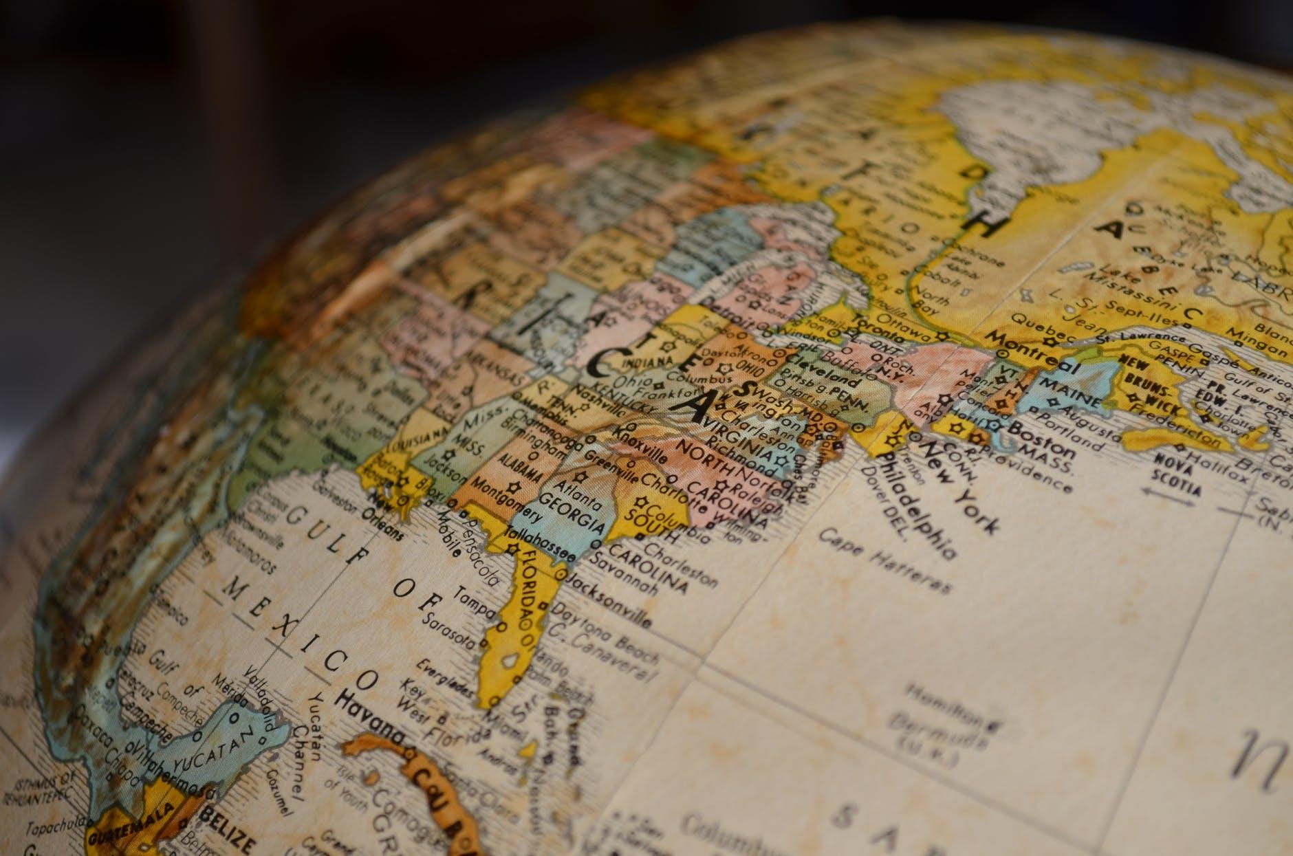 A globe showing American terrain.