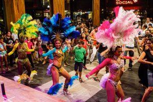Samba dancers dancing in a Brazil show.